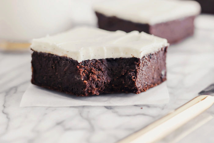 Fudgy Guinness Brownies with Vanilla Bean Cream Cheese Frosting