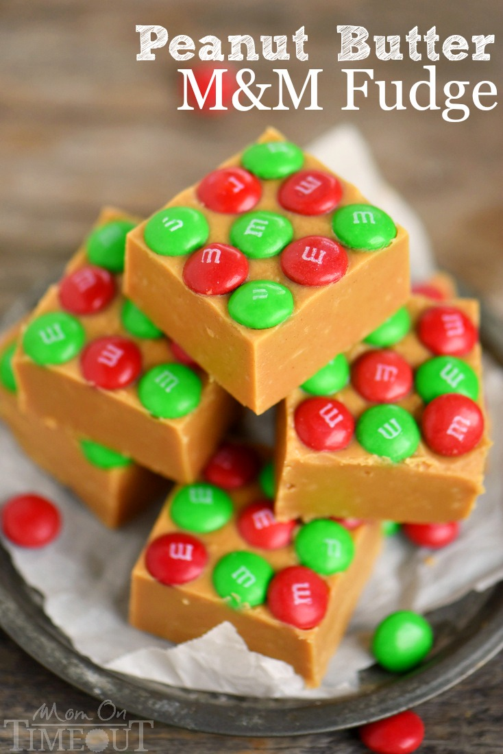 Outrageous Peanut Butter Fudge with M&Ms