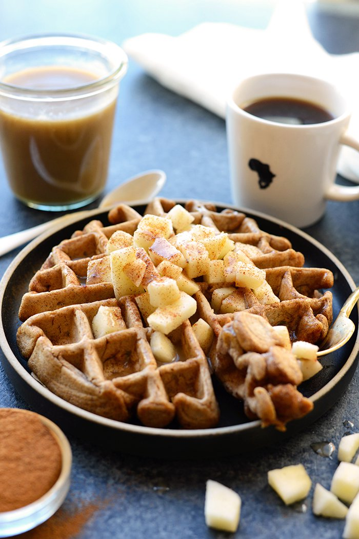 Healthy Caramel Apple Cinnamon Waffles