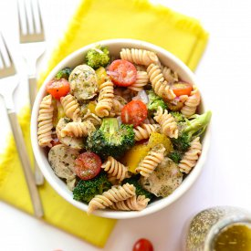 Quinoa Pasta Salad with Chicken Sausage