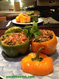 Meatless Monday: Hearty Stuffed Bell Peppers with Brown Rice & Mung Beans (Vegan)