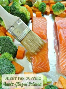 Sheet Pan Supper: Maple-Glazed Salmon with Sweet Potatoes and Broccoli