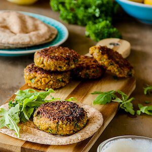 Spiced millet and chickpea burgers recipe
