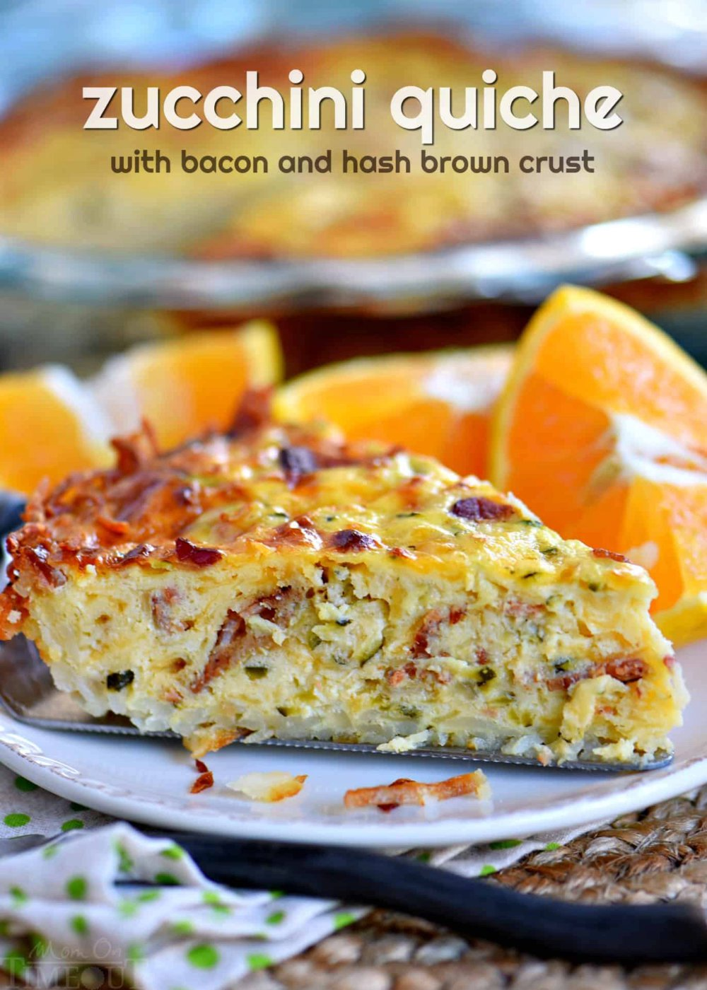 Zucchini Quiche with Bacon and Hash Brown Crust