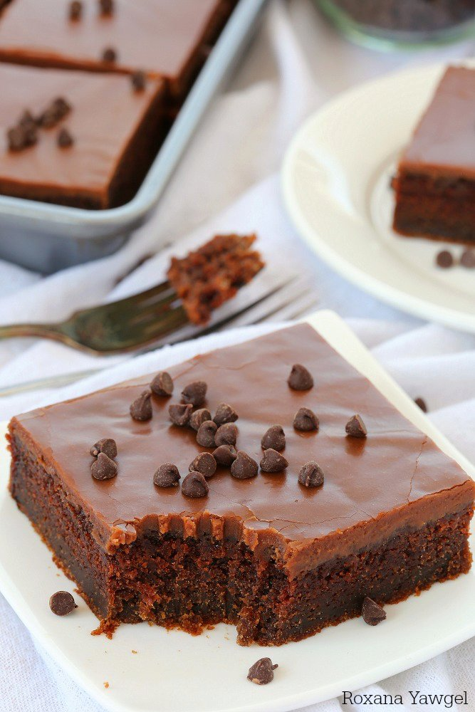 Chocolate cake with warm chocolate frosting recipe