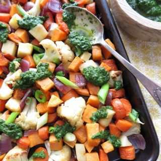 Oven-Roasted Vegetables with Basil-Mint Pesto [Paleo - AIP]