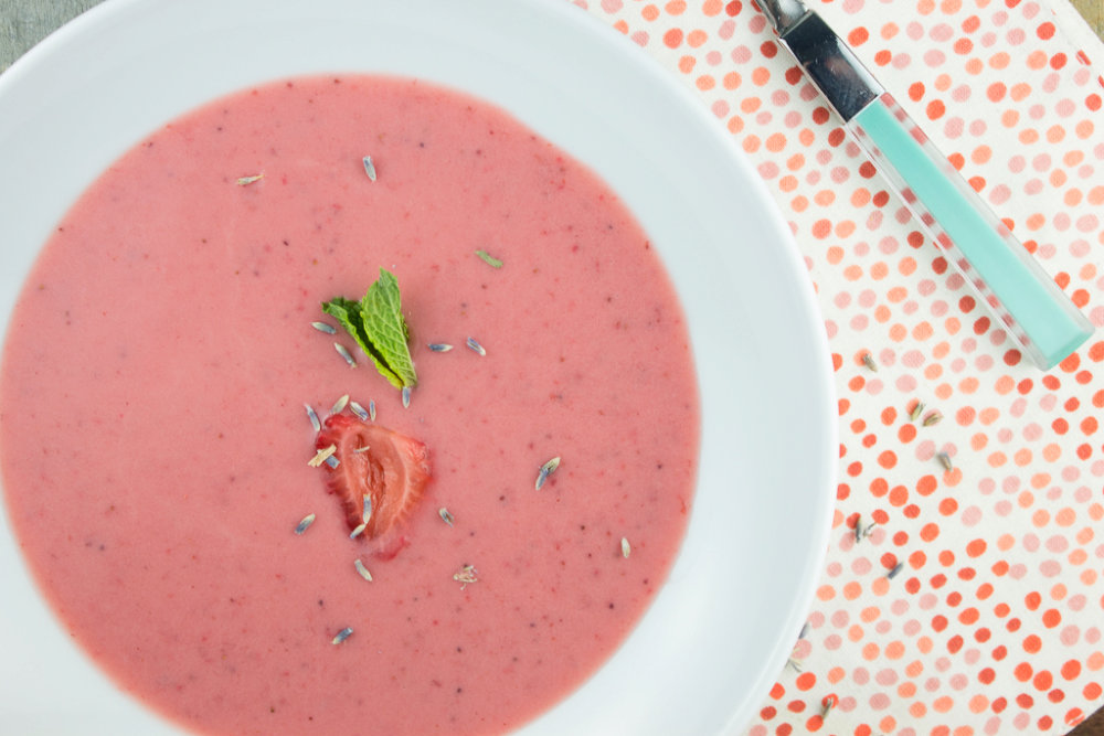 Chilled Strawberry Lavender Soup