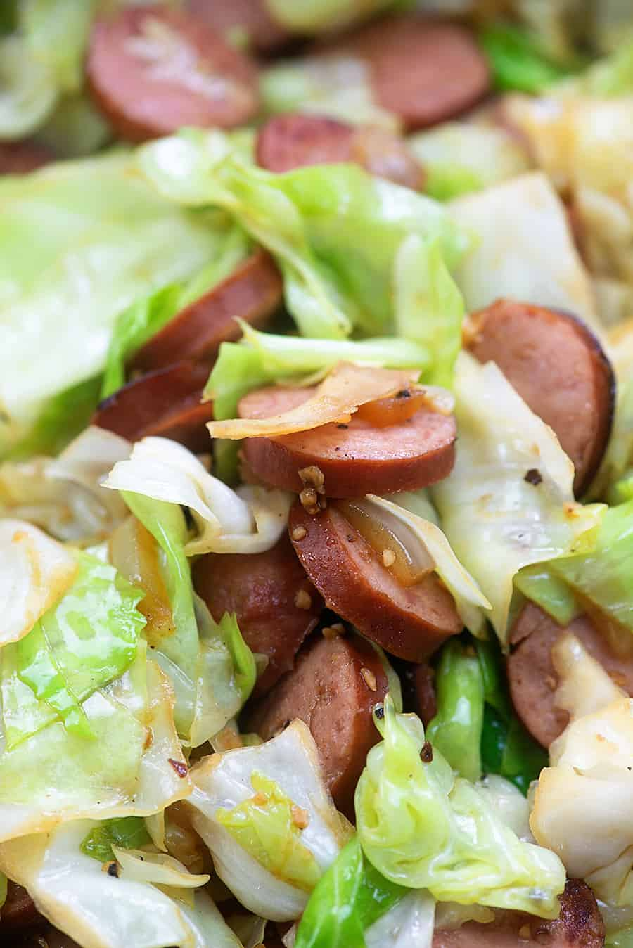 Fried Cabbage with Sausage