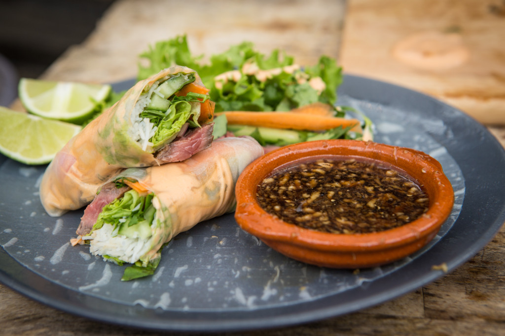 Steak Spring Rolls with Sriracha Mayo and Soy-Lime Dipping Sauce
